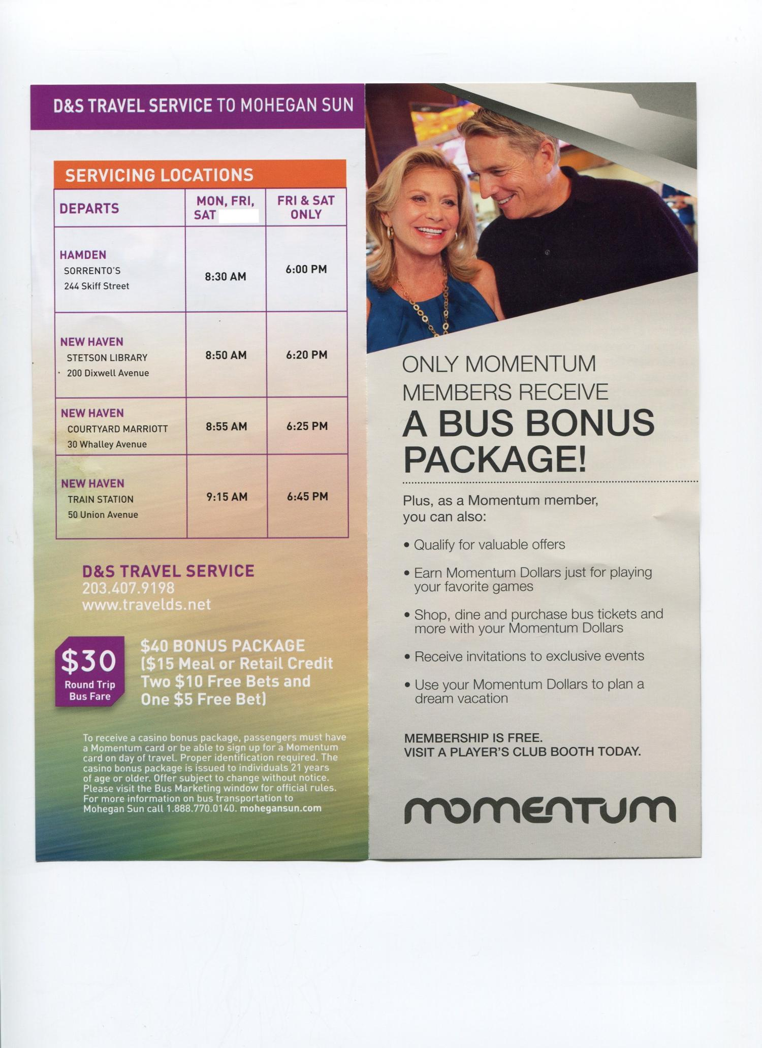 Mohegan Sun Schedule D S Travel Service